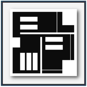 Abstraction géométrique noir et blanc de l'artiste français Pierre-Marie Dutel