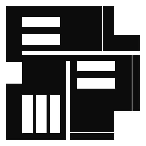 Tableau abstrait géométrique noir et blanc
