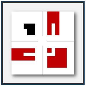 Tableau abstrait contemporain. L'artiste Pierre-Marie Dutel choisi le thème de la cité de Carthage et du général Scipion Emilien