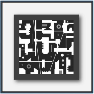 Tableau abstrait noir et blanc de l'artiste Pierre-Marie Dutel