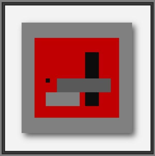 Peinture moderne abstraite du peintre français Pierre-Marie Dutel. Baton Rouge abstraction géométrique