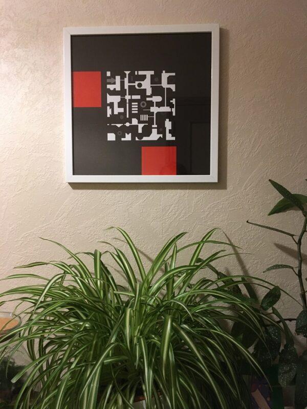 Tableau abstrait géométrique MEKKA