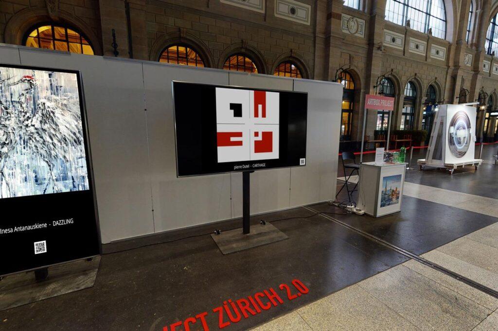 Oeuvre d'art exposé sur écran TV digital