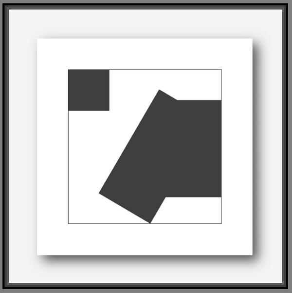 peintre de l'abstraction géométrique Pierre-Marie Dutel propose Menuisier. Oeuvre abstraite noir et blanc de la série homo-sapiens